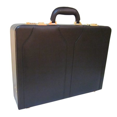 - Amerileather  Expandable Caden Executive Black or Brown Microfiber and Faux Leather Attache Briefcase Black