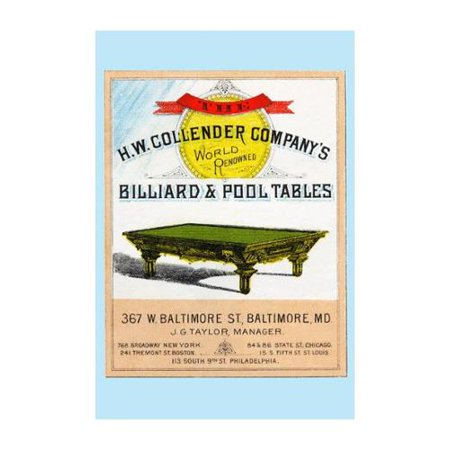 The H.W. Collender Company's World Renown Billiard & Pool Tables Print (Canvas 12x18)