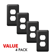 Value 4-Pack Duplex Outlet Wall Plate Decorative Stamped Steel Wallplate, Black