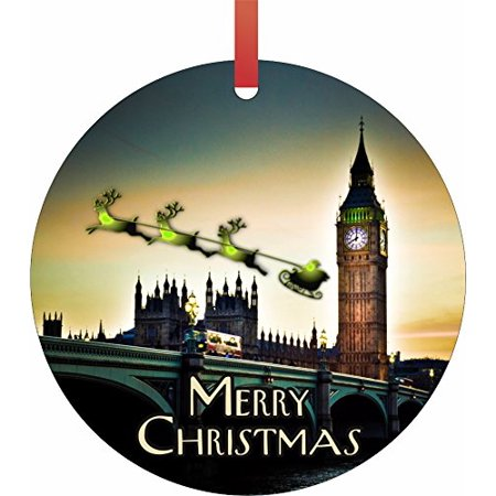 Halloween Over Bring On Christmas (Santa and Sleigh Riding Over The London Bridge - Rosie Parker Inc. TM - Double-Sided Round-Shaped Flat Aluminum Christmas Holiday Hanging Ornament Made in the)