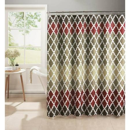 Gateway Lattice Diamond Weave Textured Shower Curtain With Metal