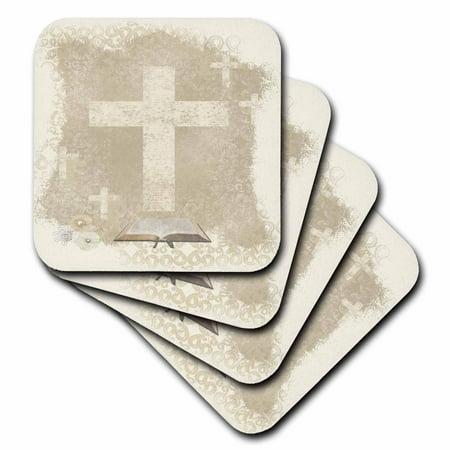 3dRose Crosses with Open Bible, Sepia, Ceramic Tile Coasters, set of 4 - Ceramic Cross