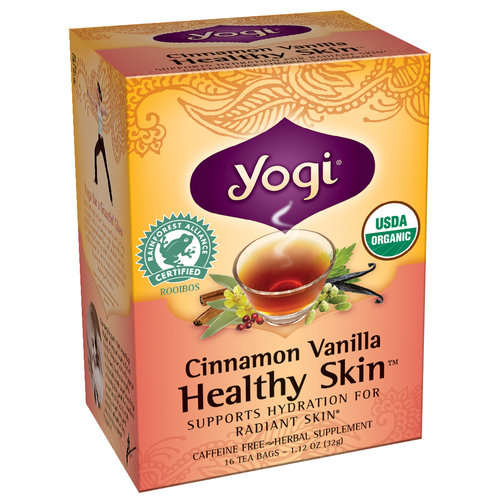 Yogi Cinnamon Vanilla Healthy Skin Herbal Supplement Tea Bags, 16 count, 1.12 oz