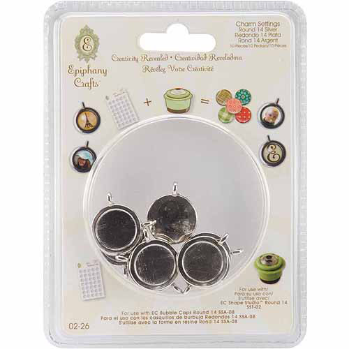Epiphany Crafts Metal Charm Settings-Round 14, 10/Pkg