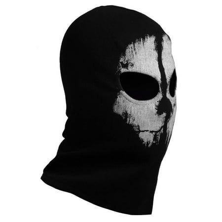 Fashion Cool Ghost Skull Patterned Balaclava Full Face Mask Outdoor Sports Winter Biker Skateboard Masks Halloween Cosplay - Zipper Face Halloween Mask