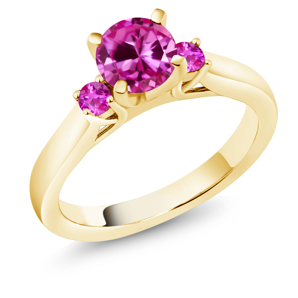 1.16 Ct Round Pink Created Sapphire Sapphire 14K Yellow Gold Engagement Ring by