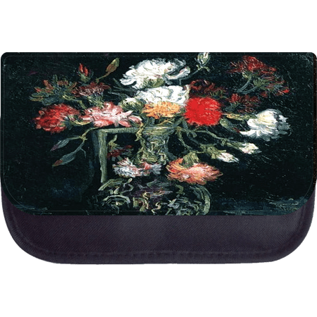 Van gogh vase with red and white carnations 5