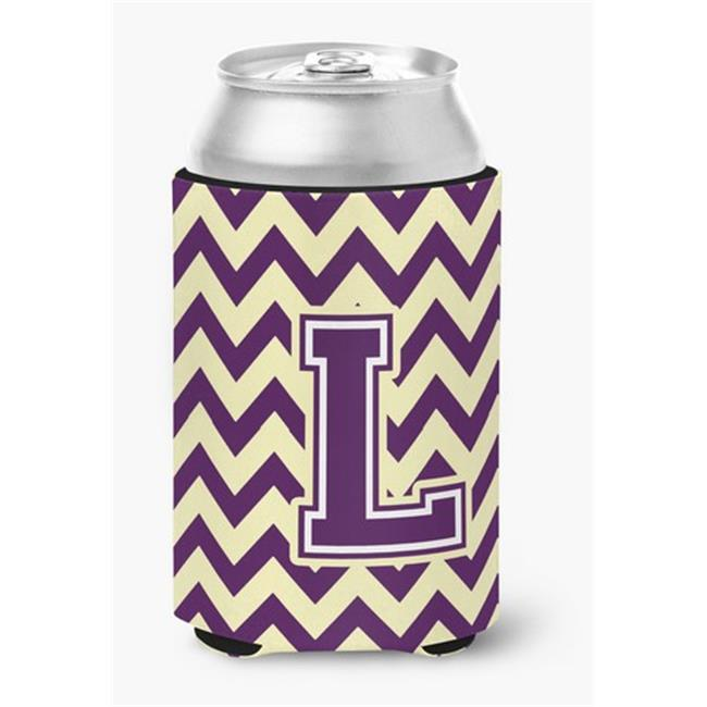 Letter L Chevron Purple & Gold Can or Bottle Hugger, 0.25 x 4 x 5.5 in. - image 1 of 1