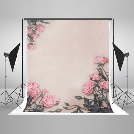 HelloDecor Polyster 5x7ft Photography Background Backdrop Newborn Pink Floral Backdrops for Infant Baby Shower/Wedding Party Photo Backdrop Banner