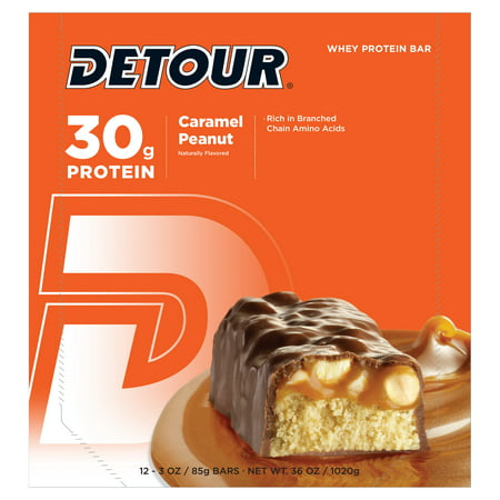 Detour Whey Protein Bar, Caramel Peanut, 30g Protein, 12 Ct for $<!---->
