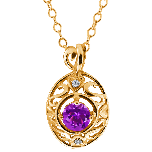 0.46 Ct Round Purple Amethyst and White Diamond 14k Yellow Gold Pendant