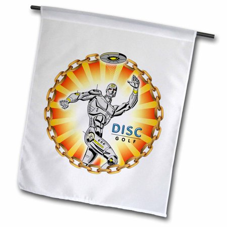 3dRose Robot Thrower 2 a mechanical robot throws frisbee playing disc golf - Garden Flag, 12 by (Best Way To Throw A Frisbee Golf Disc)