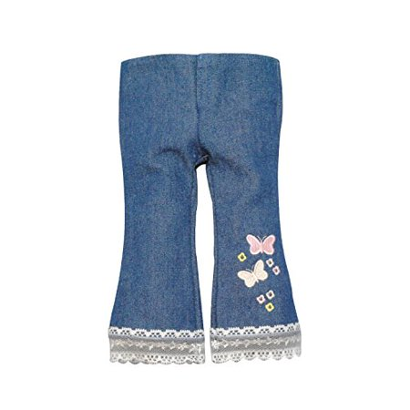 Pink Butterfly Closet Jeans and Shirt with Butterfly Embroidery Cloth Set for 18-Inch Dolls, 2-Piece - image 3 of 3
