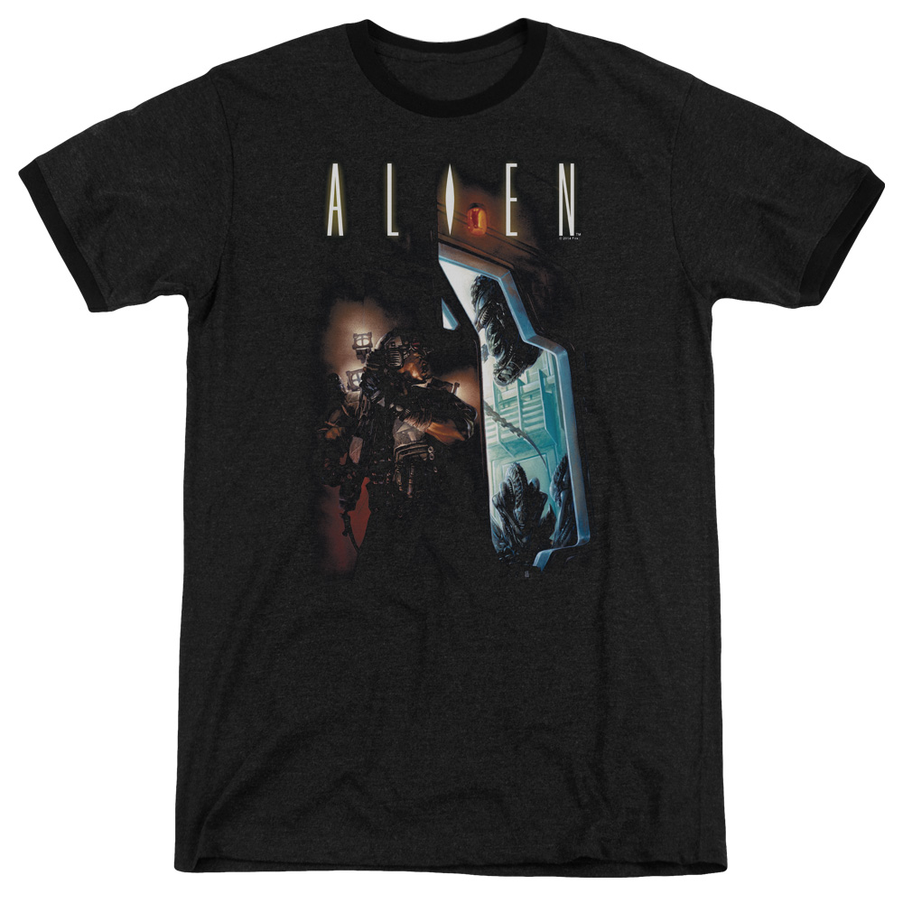 Alien Around The Corner Mens Adult Heather Ringer Shirt