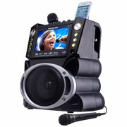Karaoke USA GF842 Complete Bluetooth Karaoke System with LED Sync Lights- 35 Watt Power Output includes 2 Microphones, Remote Control, 7 Color Screen, Record Function. Plays DVD/CDG/MP3G / USB /SD