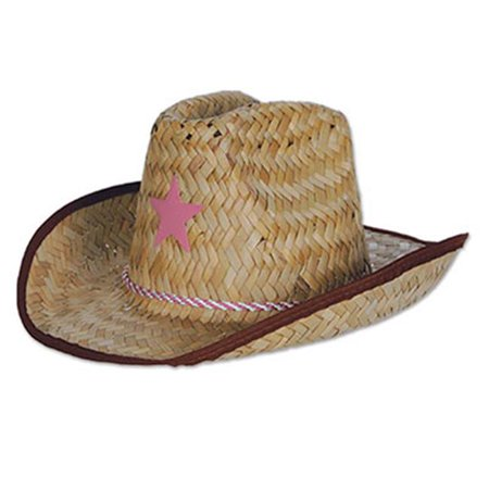 Child's Country Western Pink Star Farm Hand Woven Cowboy Hat Costume Accessory - Country Western Costumes