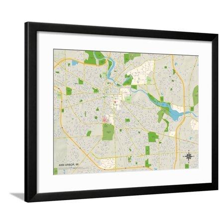 Political Map of Ann Arbor, MI Framed Print Wall Art on map of bellevue mi, map of burtchville mi, map of goodells mi, map of britton mi, map of huron river mi, map of grosse pointe farms mi, map of port sanilac mi, map of filion mi, map of east jordan mi, map of cannonsburg mi, map of irish hills mi, map of three oaks mi, map of alcona county mi, map of saint clair shores mi, map of buchanan mi, map of reading mi, map of pleasant ridge mi, map of bangor mi, map of chesterfield twp mi, map of north oakland county mi,