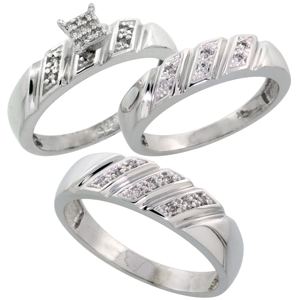 Sterling Silver Diamond Trio Wedding Ring Set His 6mm Hers 5mm