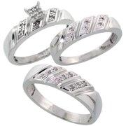 sterling silver diamond trio wedding ring set his 6mm hers 5mm rhodium finish mens - Wedding Ring Trio Sets
