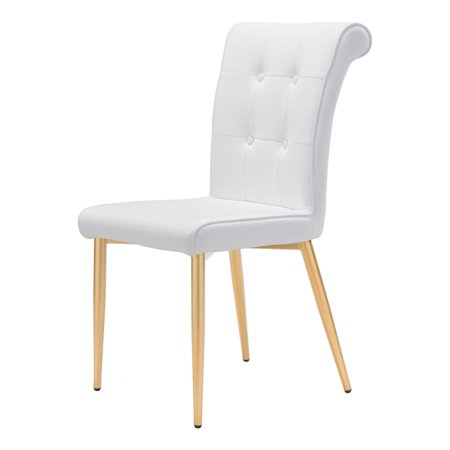 Modern Contemporary Dining Chair, Set of 2, White, Faux Leather Painted Metal ()