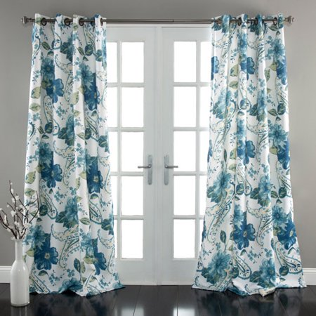 Green Curtains blue and green curtains : Floral Paisley Window Curtains Blue Set - Walmart.com