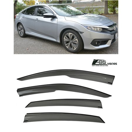 4dr Vent Visor Deflector - Extreme Online Store for 2016-Present Honda Civic X 4Dr Sedan | EOS Visors Mugen Style JDM Smoke Tinted Side Vents Window Deflectors Rain Guard