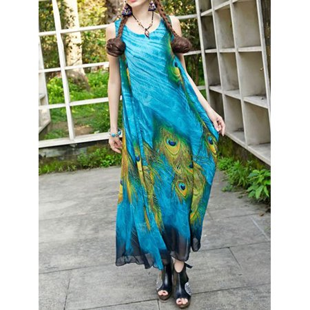 Women Plus Size Loose Fitting Long Peacock Feather Printed Gown Dress Blue - M&m Dress Up