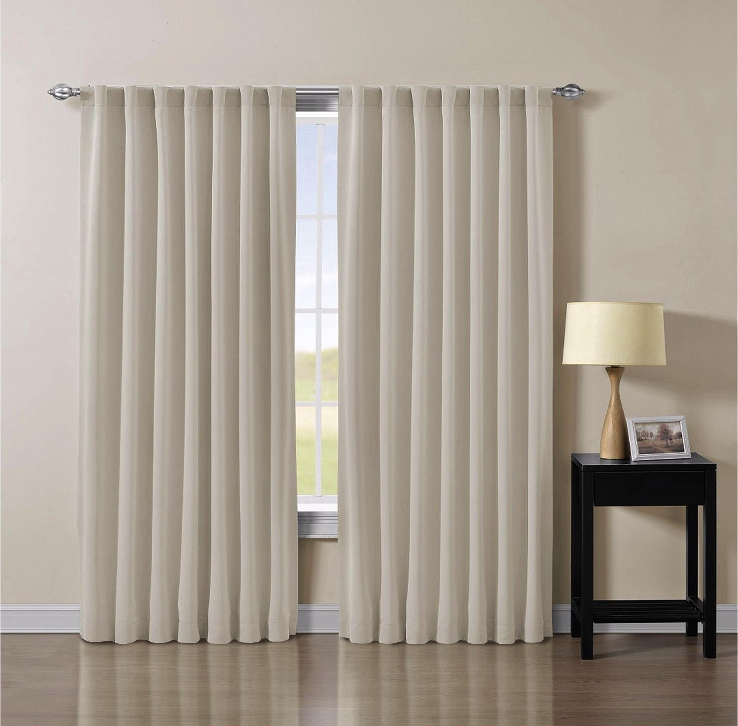 one curtain panel on window single chezmoi collection solid back tab thermal insulated blackout window curtain panel 52