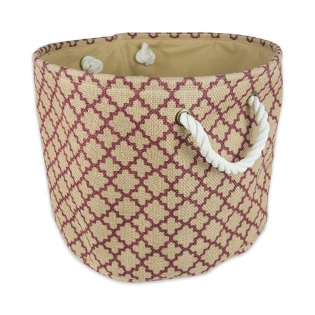 "Design Imports Burlap Bin Lattice Wine Round Small, 12""x12""x9"", Printed Jute, Red"