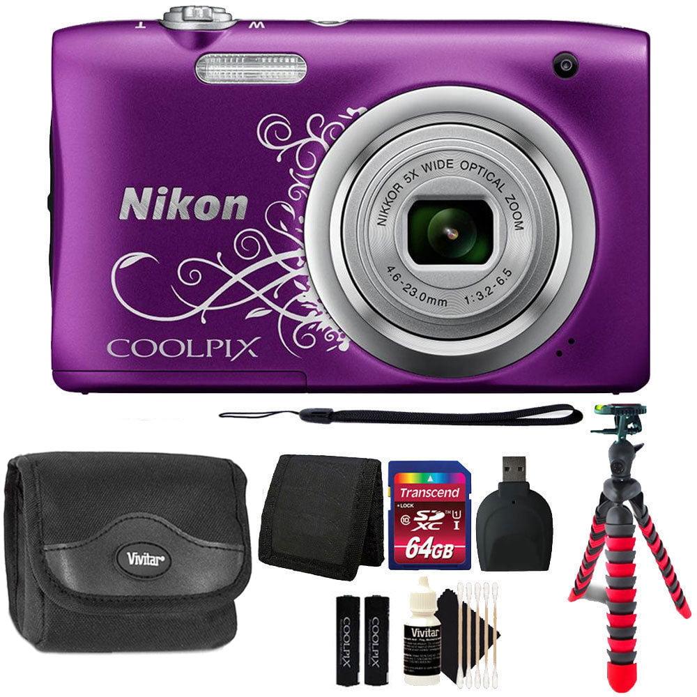 Nikon COOLPIX A10 16.1 MP Compact Digital Camera Purple + 64GB Accessory...