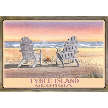 Tybee Island Adirondack Chairs On Beach Metal Print on Reclaimed Barn Wood by Dave Bartholet (24