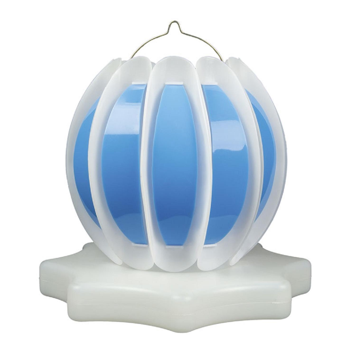Set of 2 Blue and White Floating or Hanging Solar Powered Outdoor Decorative Lanterns