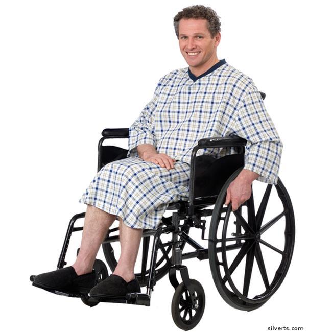 SilvertS 500511404 Mens Adaptive Cotton Hospital Patient Nightgowns, Beidge Plaide - 4XL