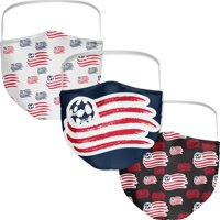 New England Revolution Fanatics Branded Adult All Over Logo Face Covering 3-Pack