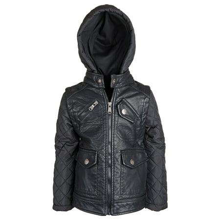 Urban Republic Little Boys Pu Leather Biker Moto Jacket Quilted