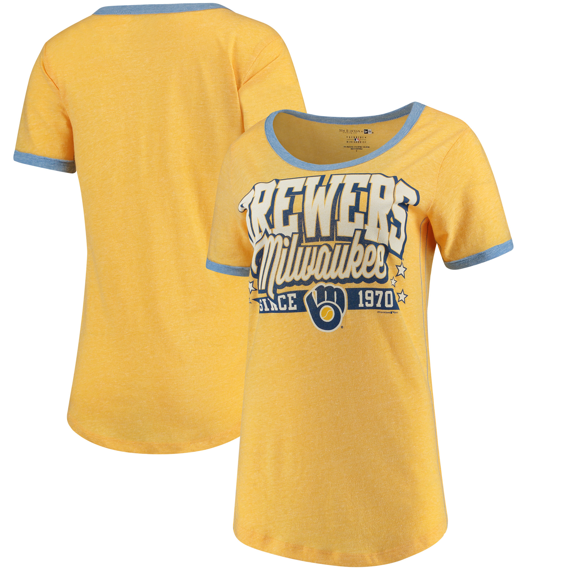 Milwaukee Brewers 5th & Ocean by New Era Women's Jersey Ringer Tri-Blend T-Shirt - Gold/Royal