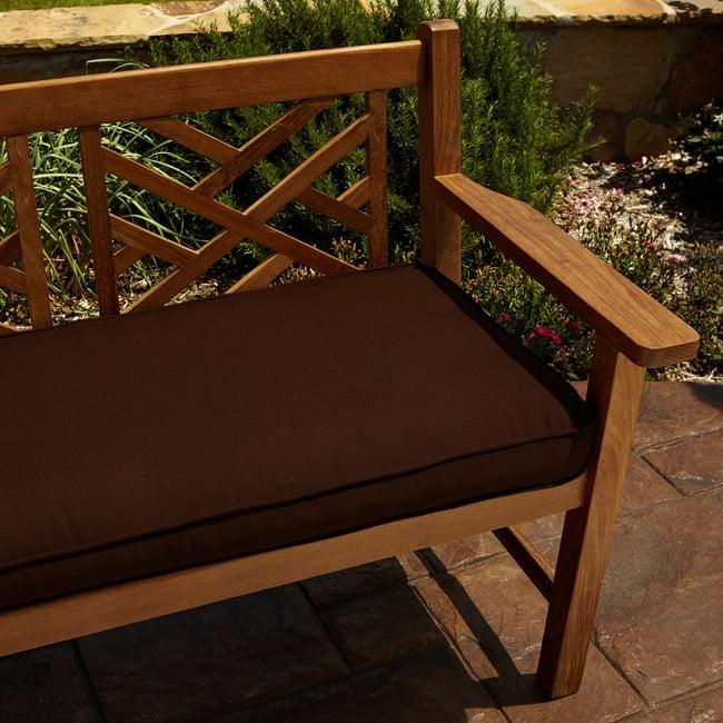 Humble And Haute Clara Brown 60 Inch Indoor Outdoor Sunbrella Bench