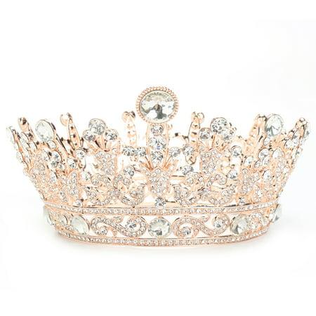 LuckyFine Rose Gold Plated Clear Round Crystal Rhinestone Full Tiara Crown Headband Wedding Party