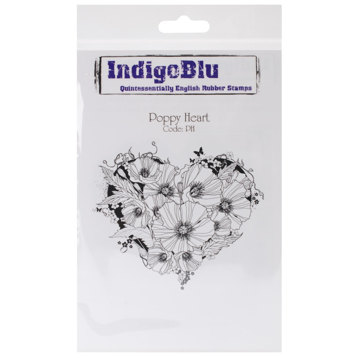 "IndigoBlu  Cling Mounted Stamp 5""X4""-Poppy Heart"