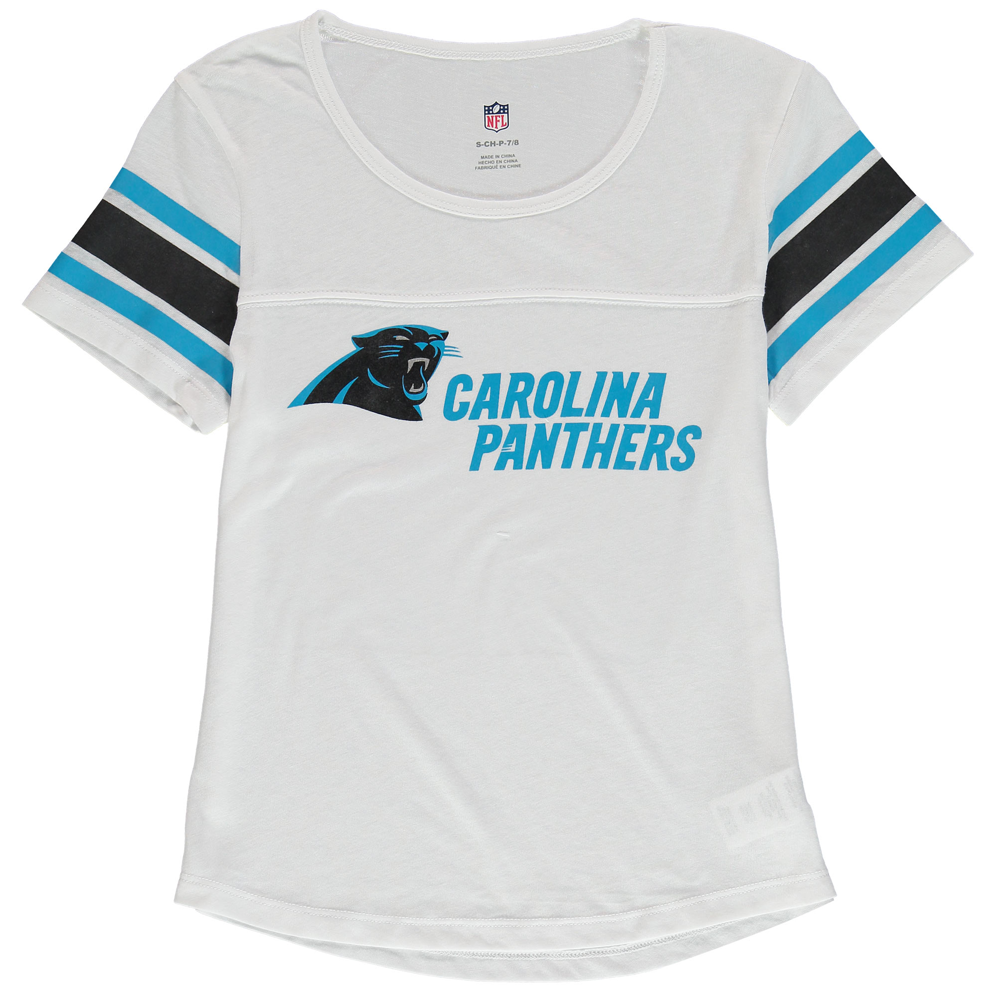 Carolina Panthers Girls Youth Team Pride Burnout Short Sleeve T-Shirt - White
