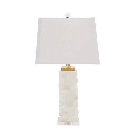 Acrylic Modern Table Lamp - Decmode 26 Inch Modern White Carved Marble and Acrylic Table Lamp, White