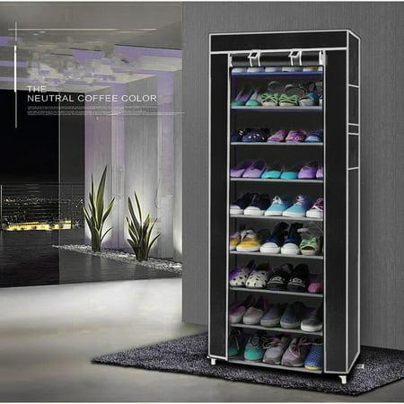 Room-saving 10-Layers 9 Lattices Non-woven Fabric Shoe Storage Rack Organizer Black