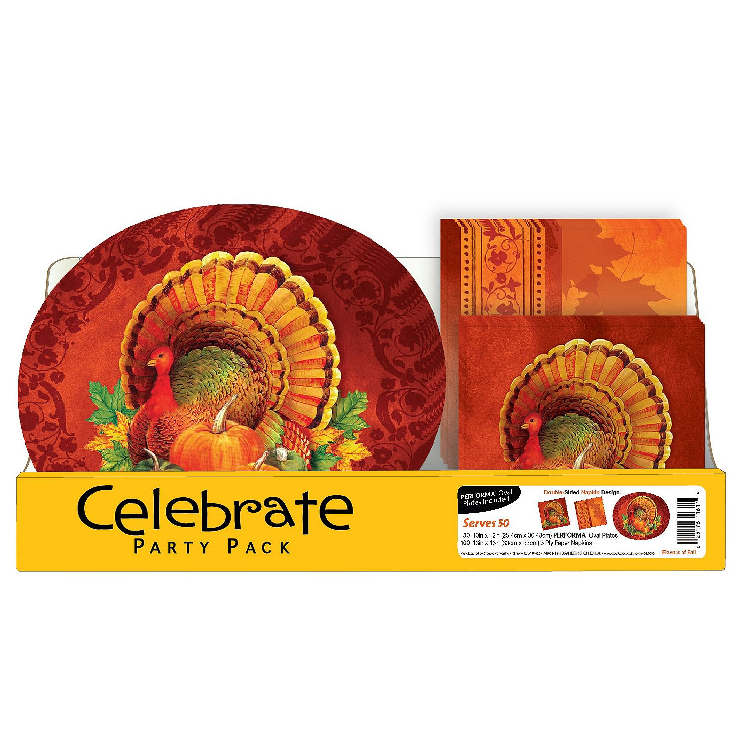 Thanksgiving Harvest Party Pack Plates and Napkins (150 ct.)