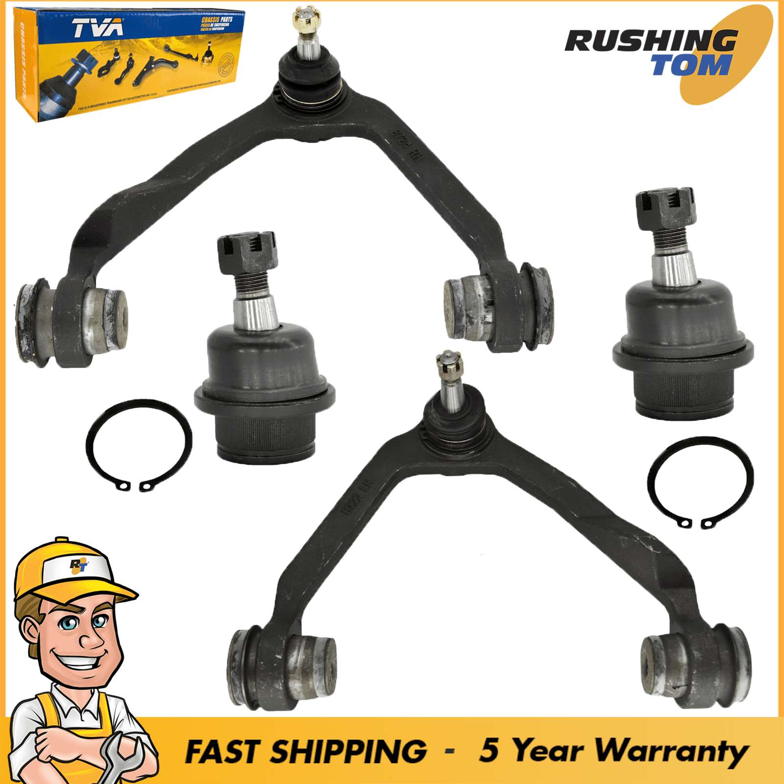 4 Piece Suspension Kit for Ford Expedition F-150 F-250 /& Lincoln Blackwood Navigator Front Upper /& Lower Ball Joints 2WD//4WD