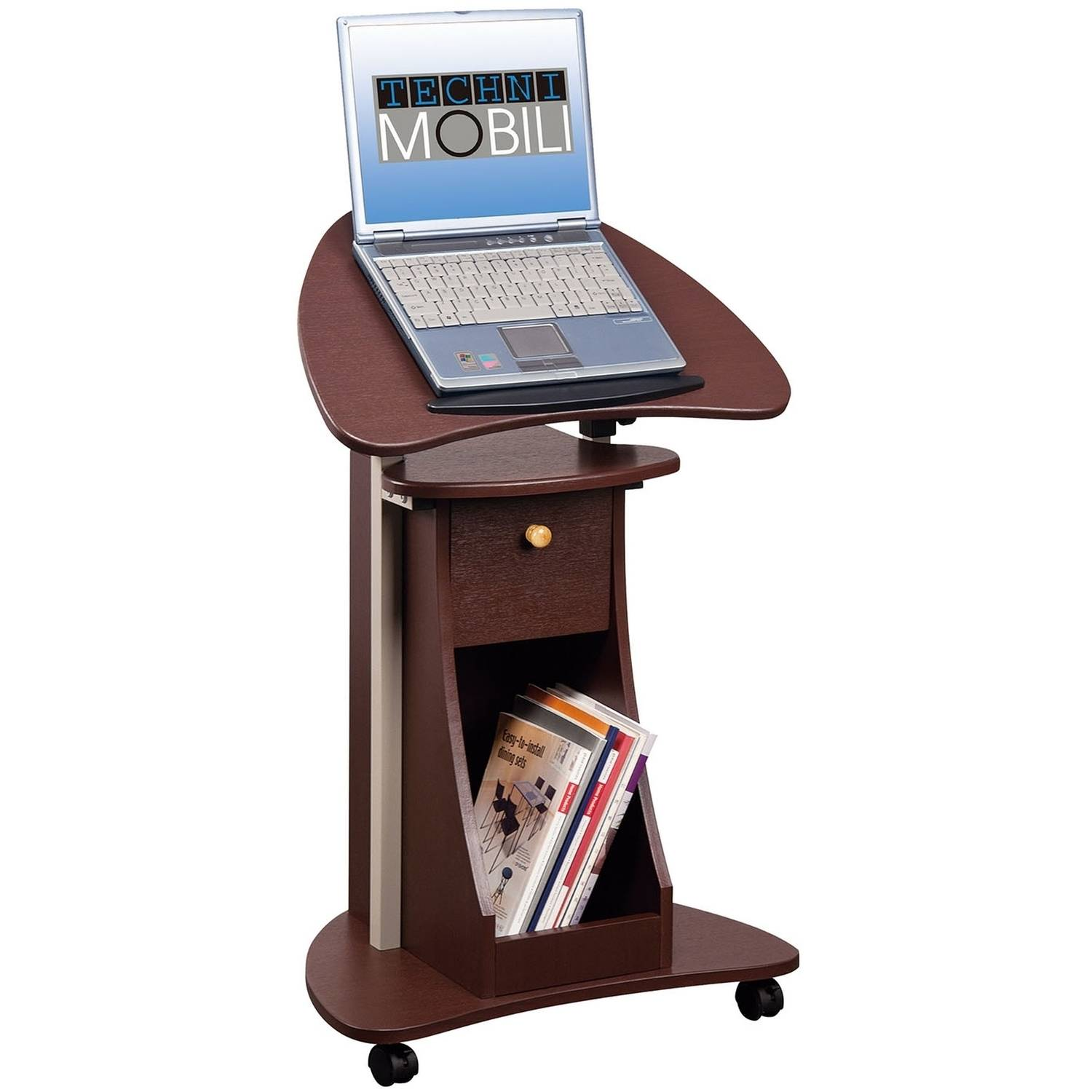 Techni Mobili Rolling, Swivel and Adjustable Laptop Cart With Storage, Chocolate