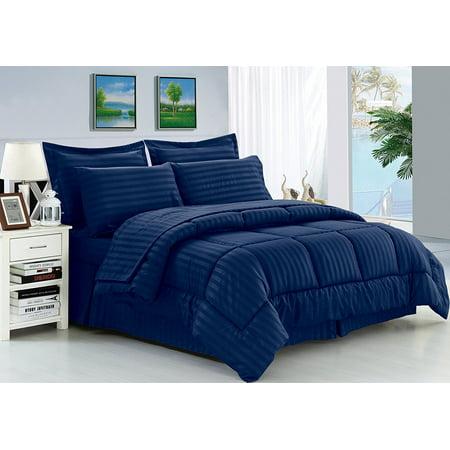 Bag Stripe Pattern Comforter Set, Navy Blue Bedding Sets Queen