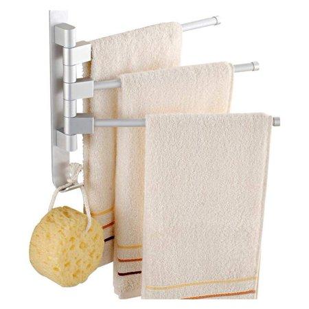 Towel Holders/Towel Bars - 3 Rods Rotating Towel Bar Towel Rail Wall Mounted Stainless Steel Bathroom Organizer Storage, Polished Chrome Finish Bathroom - Polished Chrome Wall Supply