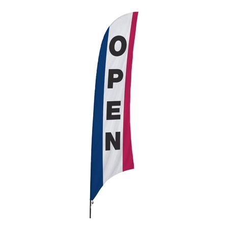 Open Message Feather Flag for Stores, with Ground Spike, 32