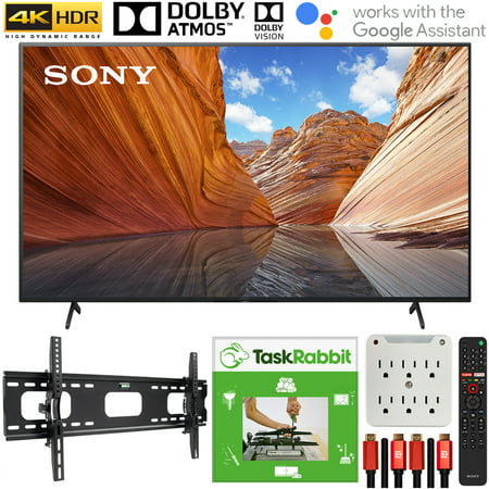 Sony KD55X80J 55-inch X80J 4K Ultra HD LED Smart TV (2021 Model) Bundle with TaskRabbit Installation Services + Deco Gear Wall Mount + HDMI Cables + Surge Adapter