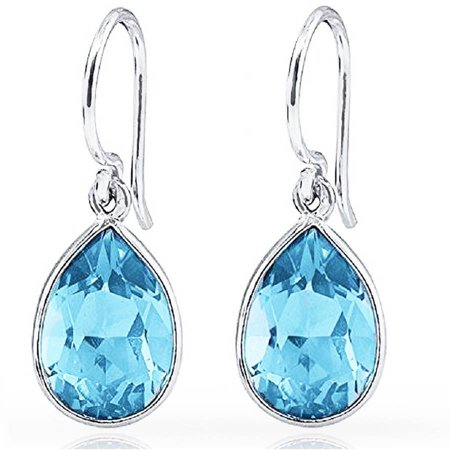 Pear Shape Citrine Earrings (A&M Genuine 3.0 Carat T.G.W. Blue Topaz Sterling Silver Pear-Shape Drop)
